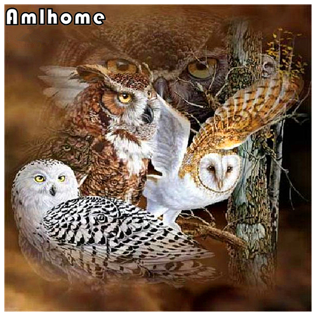 AMLHOME 5D DIY Diamond Painting Owl Crystal Diamond Painting Cross Stitch Arts Crafts Sewing Needlework Home Decorative HC0895