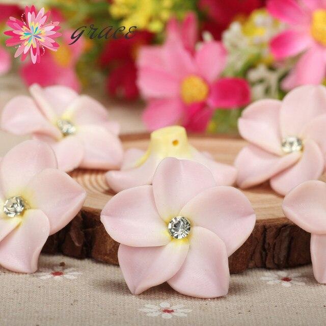 10pc/lot 30mm Handmade  Polymer Clay Plumeria Flower Beads Diy Necklace Hair Jewlery Crafting Decoration Artesanato Material