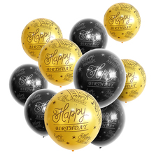 BTRUDI 10pcs 12inch Happy Birthday Balloon 50  Anniversary Latex Balloons Wedding Supplies black and silver balloons