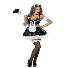 Latest Designed and Top Selling Black Sexy Bud Tiered Maid Cosplay Costume Sashes Ruffles Women Dress BI42