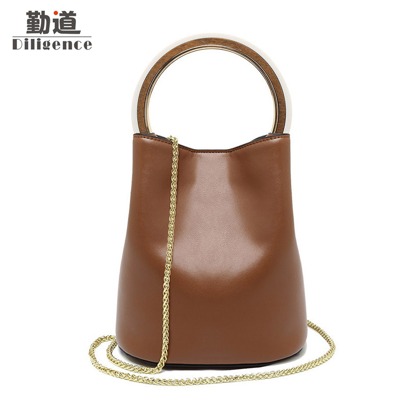 Genuine Leather Bags with Cluth Bucket Famous Brand Style Designer Women Messenger Chains Bag Female Shoulder Bolsa Round Handle behrens 412w 12 qt combination round mop bucket with wringer