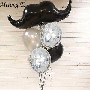 Image 1 - Ballons à moustache en aluminium et à lhélium 5 pièces/ensemble pour petit homme, jouets à moustache et barbe noire pour enfants, fournitures de décoration pour fête danniversaire