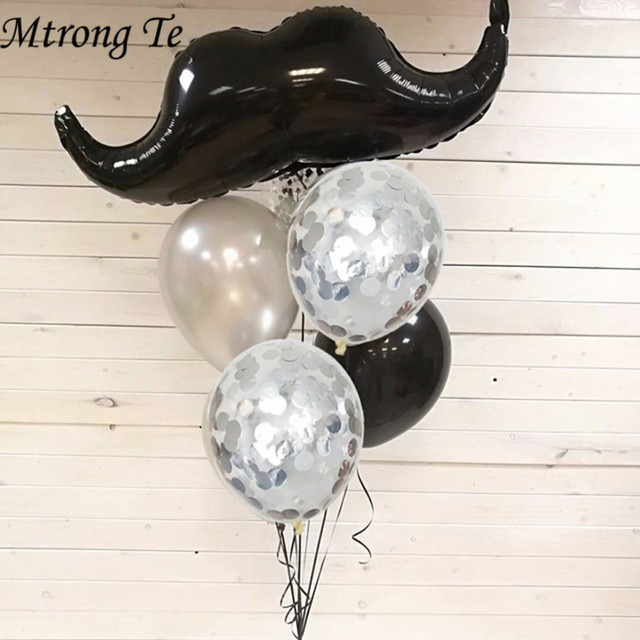 Ballons à moustache en aluminium et à lhélium 5 pièces/ensemble pour petit homme, jouets à moustache et barbe noire pour enfants, fournitures de décoration pour fête danniversaire