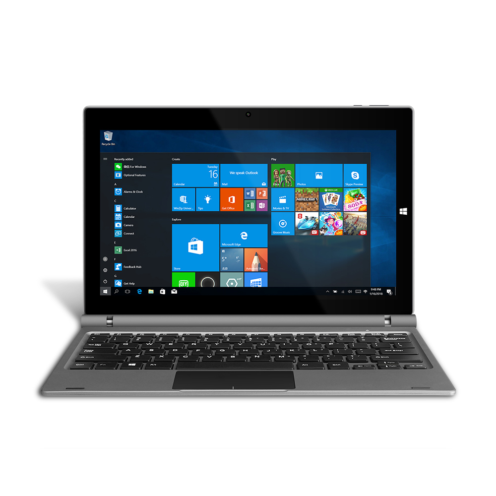 YUNTAB 11.6inch GA116C 2 In 1 Windows10 Tablet PC Quad Core 2GB+32GB Dual Camera Notebook Computer With Keyboard(Silver grey)
