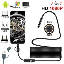 8,0 мм эндоскоп камера 1080P HD USB эндоскоп с 8 светодиодными лампами 1/2/5 м кабель Водонепроницаемая инспекциионный бороскоп для Android ПК