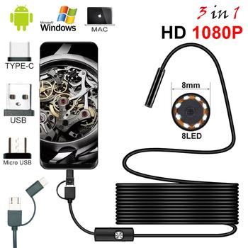 Nowy 8 0mm kamera endoskopowa 1080P HD endoskop usb z 8 LED 1 2 5M kabel wodoodporny boroskop inspekcyjny dla android pc tanie i dobre opinie JCWHCAM 3IN1 Type C1080P HD Endoscope Drutu twardego 1920*1080 1m 2m 3 5m 5m 10m