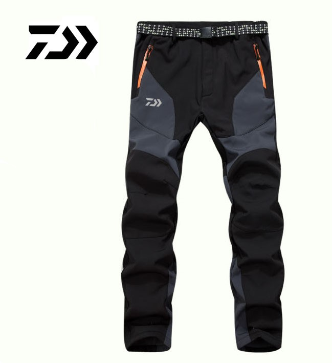 2017 NEW DAIWA Fishing pants Autumn And Winter Keep warm Plus velvet soft shell DAWA trousers outdoors daiwas Free shipping