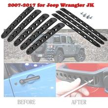 цена на 3/5Pcs Aluminum Door Grab Handle Inserts Cover Trim For Jeep wrangler 2007 2008 2009 2010 2011 2012 2013 2014 2015 2016 2017