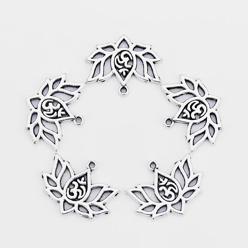 20pcs Antique Silver Hollow Open OM OHM YOGA Symbol Lotus Charms for Charms Pendant Necklace Bracelet Jewelry Making Accessories