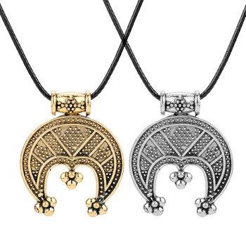 Collar de Joyería Dongsheng para hombres vikingo Tricorn Lunula, amuleto protector, colgantes de media luna, collares, accesorios de Metal, collar