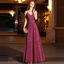A-line Evening Dress Wine Red Spaghetti Strap Bling Formal Prom Dresses Sexy V-neck Zipper Floor Length Long Party Gowns E088 цена и фото