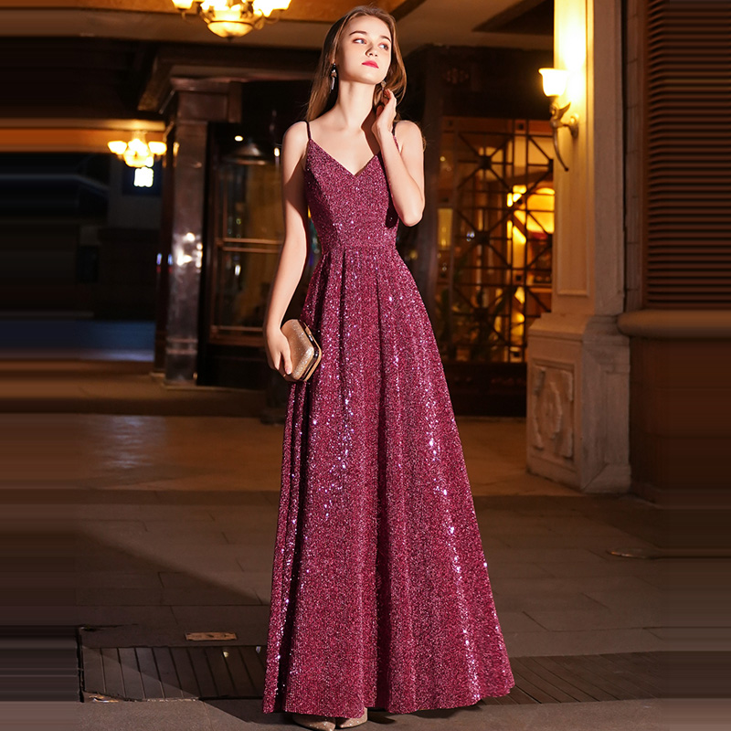 A-line   Evening     Dress   Wine Red Spaghetti Strap Bling Formal Prom   Dresses   Sexy V-neck Zipper Floor Length Long Party Gowns E088