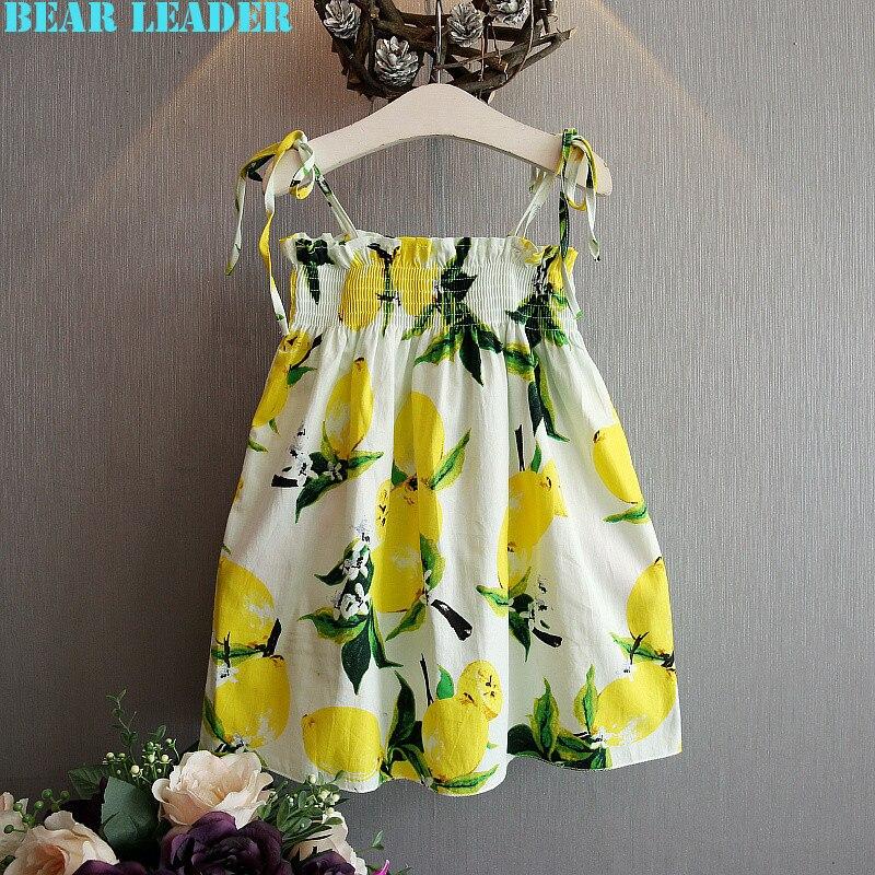 ФОТО bear leader girls dress 2016 new brand princess dress kids clothes lemon print design for girls dress children clothes 3-7y