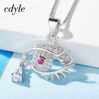 Cdyle Necklace Women Pendants Elegant S925 Sterling Silver Fashion Jewelry Eye Shape Australian Rhinestone Paved Brincos
