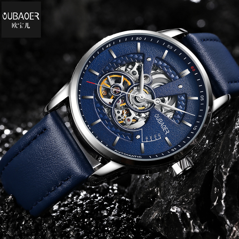 Здесь продается  OUBAOER Automatic Mechanical Original Men Watch Top Brand Luxury Watch Leather Military Watches male Clock Men Relojes Masculino  Часы