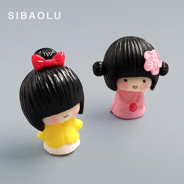 2pc/lot mini Janpanese Girl figurine Bonsai Moss people ornament home decor miniature fairy garden decoration accessories modern 2
