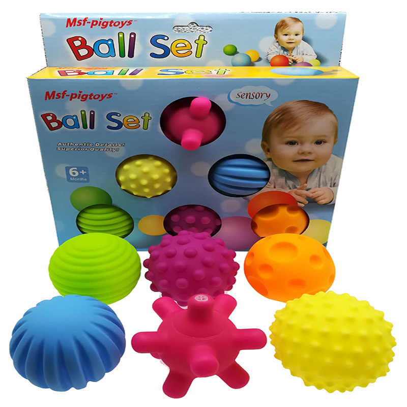 Hand Sensory Baby Toy Rubber Textured Touch Toy Ball Multi Tactile Senses Baby Training Massage Soft Balls toy Squeeze ball set