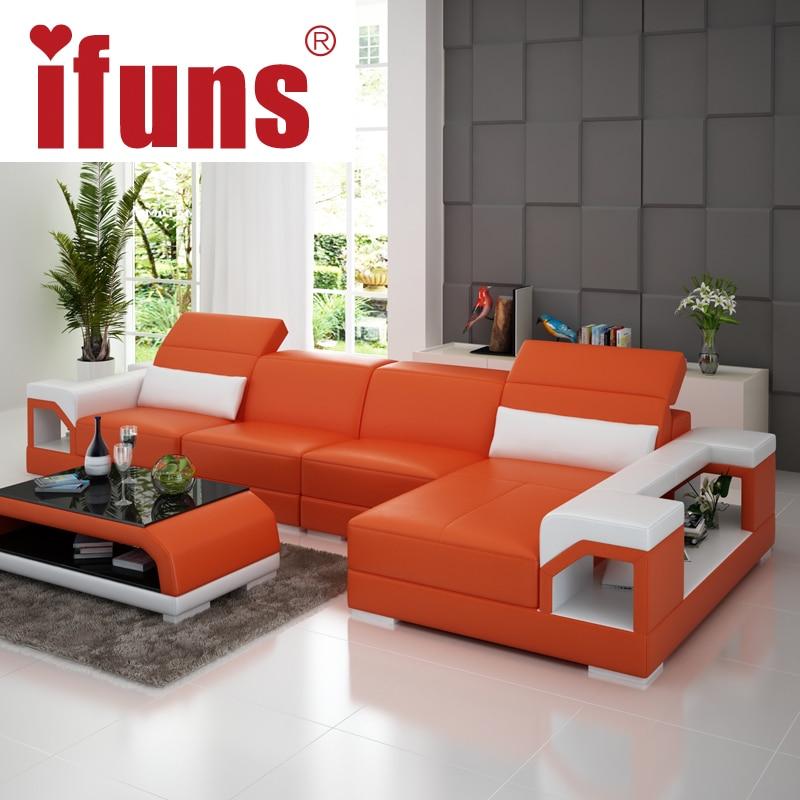 Amazing IFUNS Brillancy Orange Genuine Leather Corner Sofas Modern Design L Shape  Recliner Floor Sofa Set Living Room Furniture (fr) In Living Room Sofas  From ...