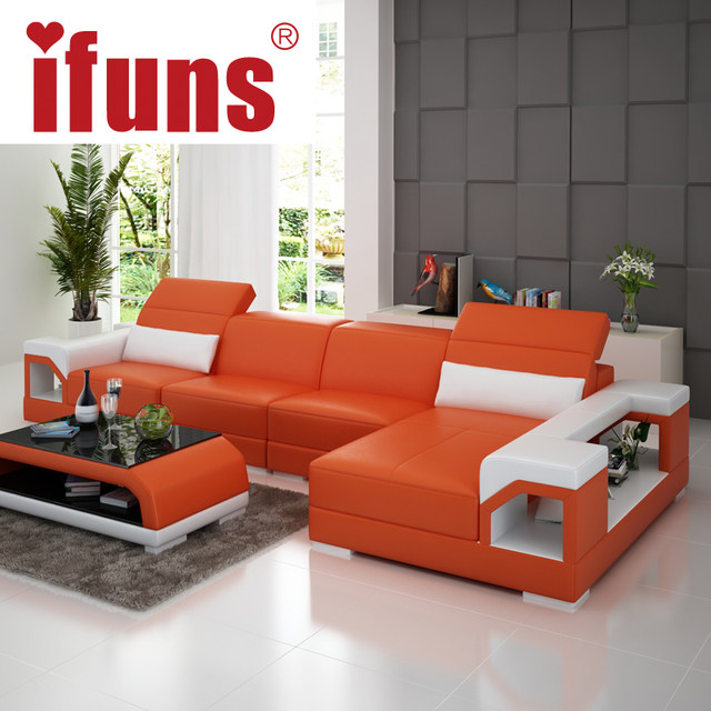 Ifuns Brillancy Orange Genuine Leather Corner Sofas Modern Design L Shape Recliner Floor Sofa Set Living Room Furniture Fr