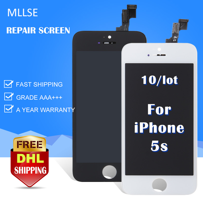 10/pcs For iPhone 5S LCD Touch replacement assembly with Digitizer Ecran Module High Screen Black & White Display A1456 Free DHL grade a replacement lcd glass screen ecran touch display digitizer assembly for oppo r9 plus 6 0 inch white with free tool kit