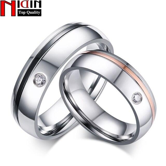 Nidin 2017 Clic Simple Line Wedding Rings For Women Men Aaa Cz Stone Promise Fine