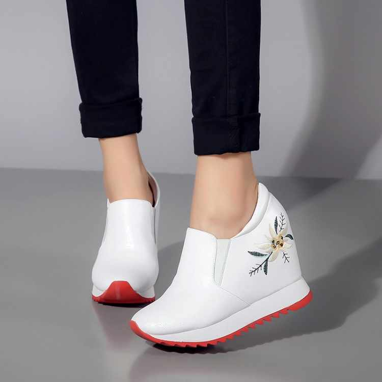 MLJUESE 2019 kadın yarım çizmeler inek deri çiçek gümüş renk sonbahar takozlar artan topuk ayakkabı çizmeler kadın botları