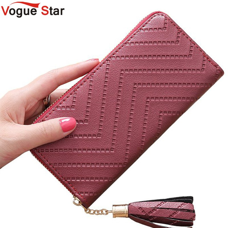 Vogue Star New Fashion leather Women Wallet tassel luxury brand casual PU Wallet Long Ladies Clutch Coin Purse  LB513 2018 new fashion business envelope women male black red wallet hit color 3 fold pu leather wallet long ladies clutch coin purse
