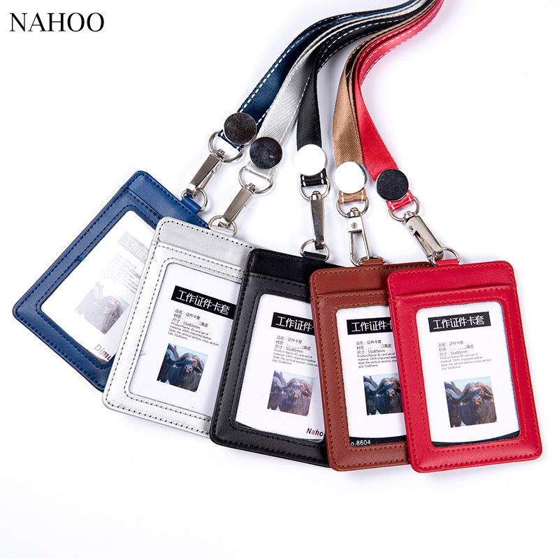 Nahoo Hospital Nurse Name Badge Tag Holder Leather Badge Holder Credit Id Reel Card Holder Neck Bus Cards Case Office Supplies nahoo lanyard id badge clip name label plastic badge leather card holder vertical credit card bus card holder office supplies