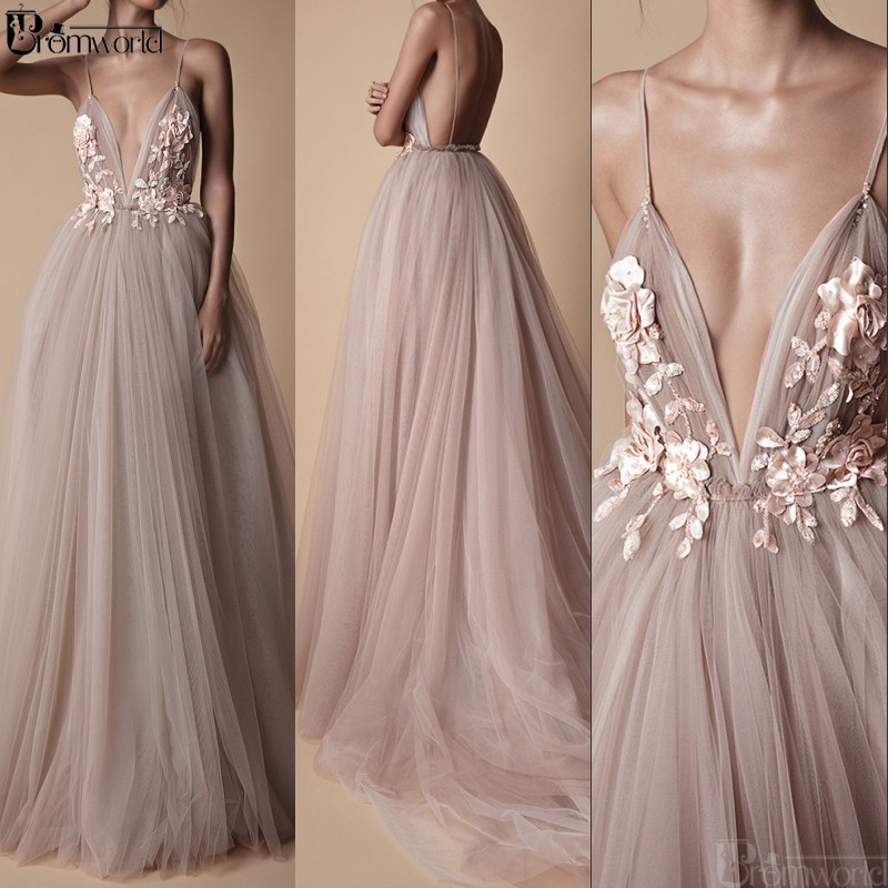 Sexy Long Evening Dresses 2019 New Arrival Backless V-Neck Flowers Blush A Line Tulle Special Occasion Ivory Party Prom Gowns