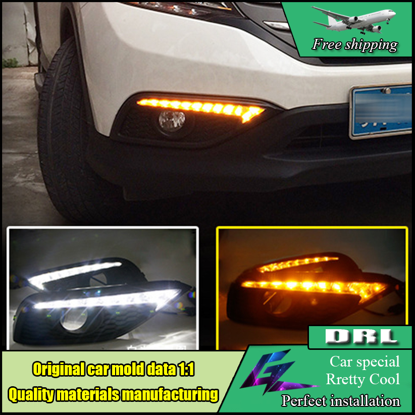 Car Styling LED Daytime Running Light For HONDA CR-V CRV 2012 2013 2014 LED DRL With Turn Yellow Signal Front Bumper DRL Lamp 1set car accessories daytime running lights with yellow turn signals auto led drl for volkswagen vw scirocco 2010 2012 2013 2014