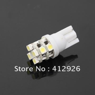 10pcs/lot 901745-AX-0037 T10 3528 Bulb Wedge Car 12-LED SMD White Light New free shipping