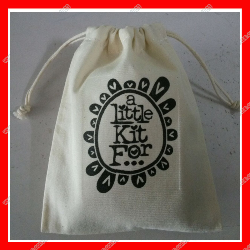 (500pcs/lot) Size 10x15 Custom gift drawstring cotton bag with your logo