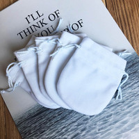 50pcs/lot Flannel Bag Pouch For Bead Charm Bracelet Women Original Pandora Jewelry Birthday Gift White Bags Outer Packaging