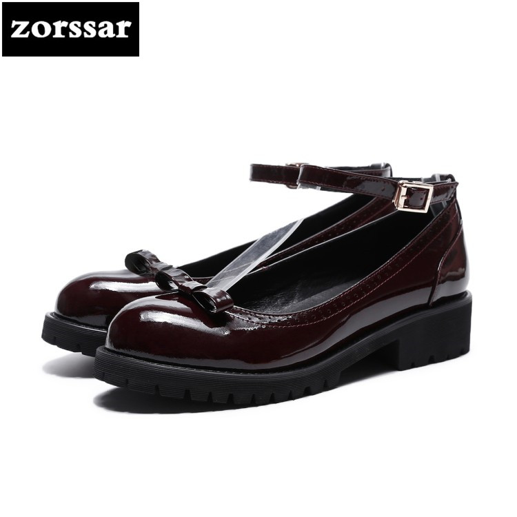 {Zorssar} 2018 New Genuine leather fashion Bowknot ladies shoes Round toe Low heel shoes women women Mary Jane High heels pumps nayiduyun women genuine leather wedge high heel pumps platform creepers round toe slip on casual shoes boots wedge sneakers