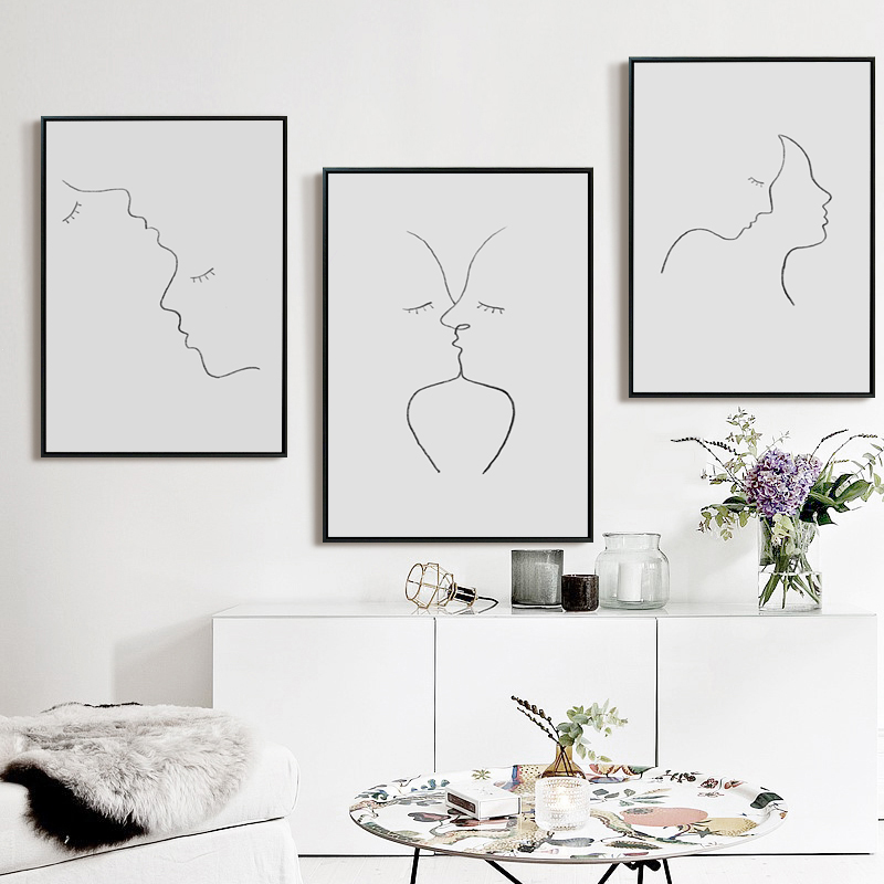 Drawing Lines With Canvas : Abstract decorative pencil drawing line kiss canvas