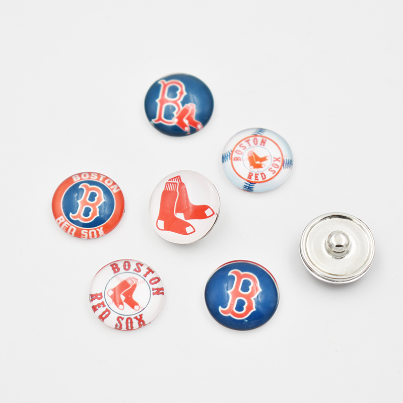 Boston Red Sox Baseball Team Glass Snap Button Charm For 18MM Snap Button Jewelry (Mixed ...