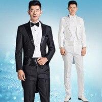 Men's tuxedo suit white suit groom grooming gown chorus stage costume male commander autumn blazer suit tuxedo blaser big size