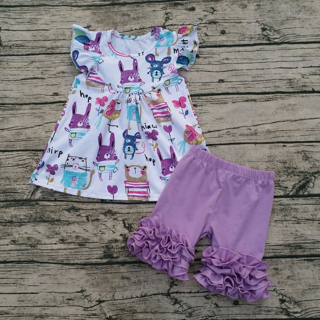 Girls Easter Boutique Girls Rabbit Print Top And Solid Short Baby Girl Clothes Boutique Sets