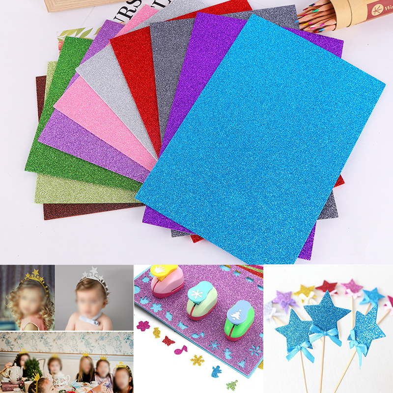 Us 3 58 27 Off Decorative 20 30cm 10pcs Glitter Eva Foam Paper Sheet Sponge Soft Touch Arts Crafts Kids Diy A4 In Craft Paper From Home Garden On