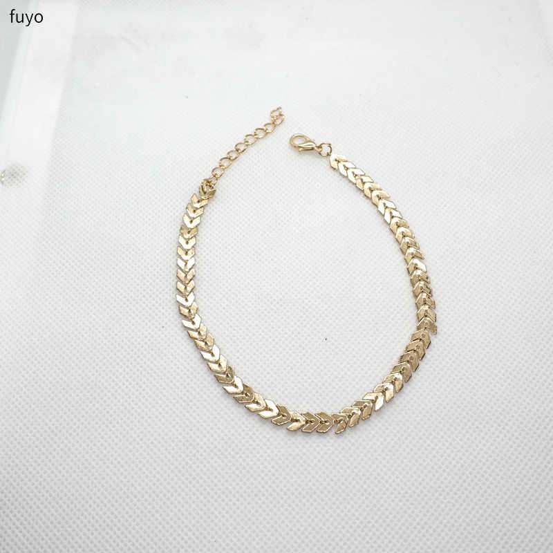 Punk prosta strzałka cekiny bransoletki bransoletki wąż kości samolot łańcuch bransoletka Bangle biżuteria dla kobiet