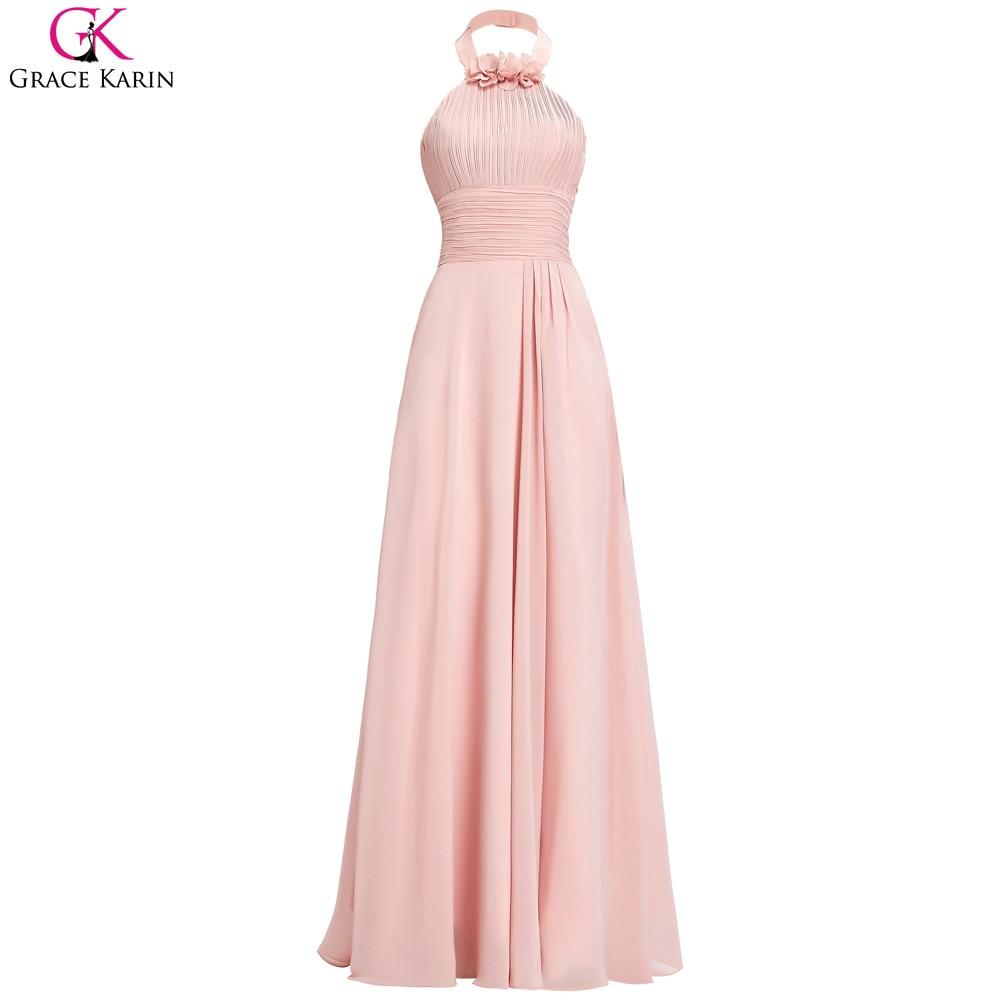 Online get cheap junior bridesmaid gowns aliexpress alibaba robe de soiree grace karin blush pink bridesmaid dresses halter long chiffon gowns junior bridesmaid dress ombrellifo Images