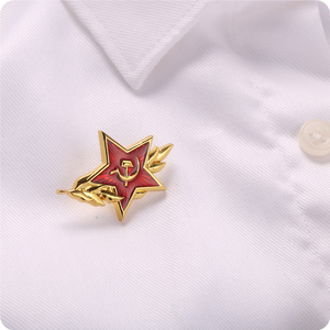Image 3 - Cold War Soviet CCCP Red Star Sickle Hammer Symbol Pin Badge