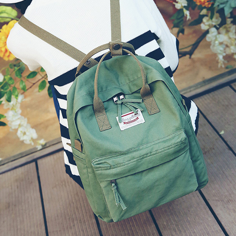 Leisure Women canvas backpack school bags Korean fashion backpack Leisure travel bag Solid Women Shoulder Bags