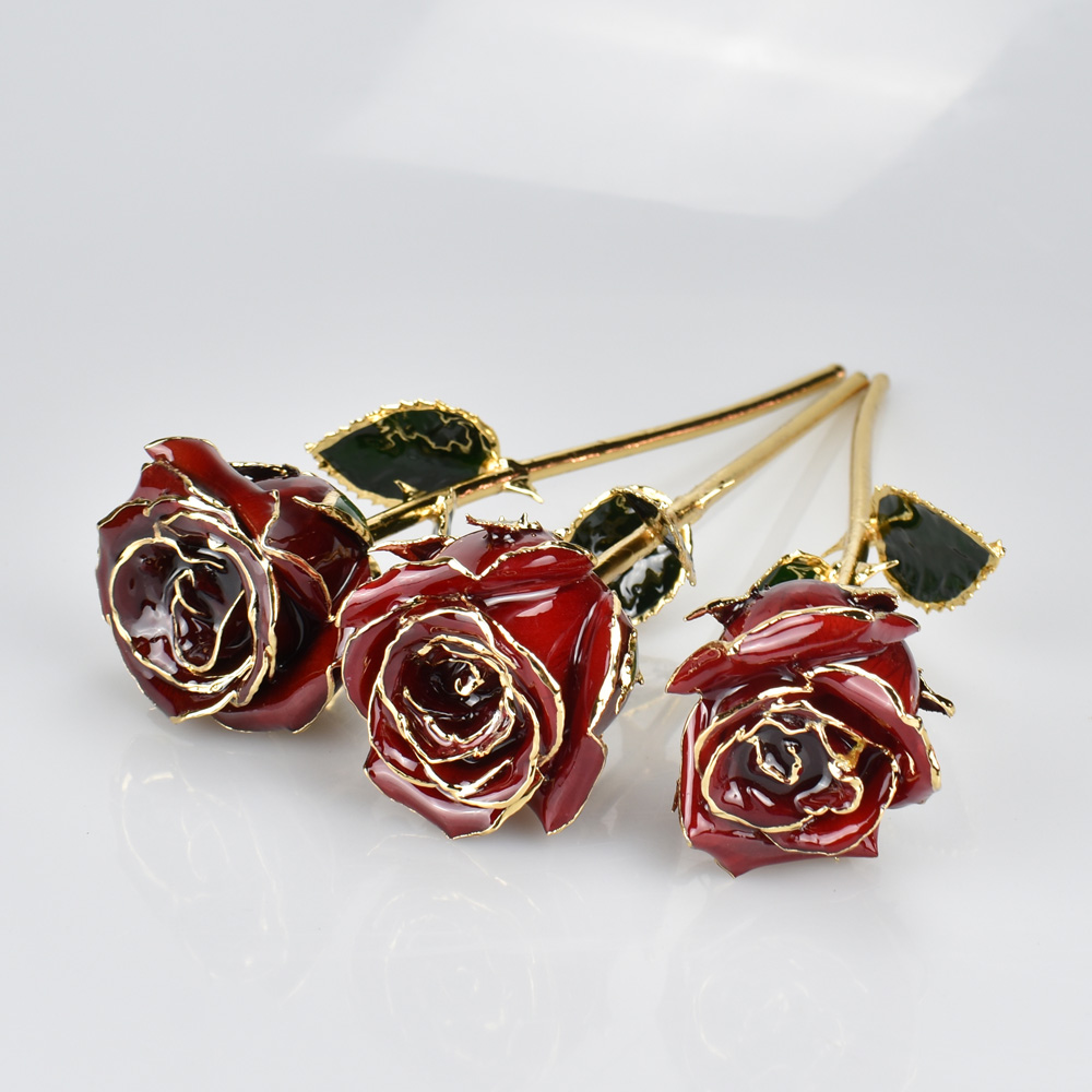 UBUY Romantic 24k Gold Plated Rose Flower With Gift Box For Valentines Day Wedding Anniversary Gifts