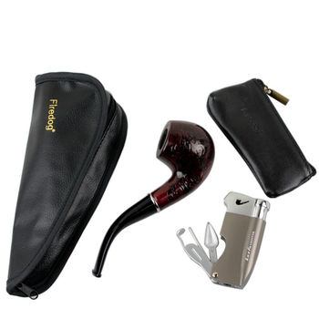 4 in 1 PU Leather Single Pipe Pouch Bag Case+Classic Wooden Smoking Pipe+With Tools Cigar Cigarette Lighter+Tobacco Pouch