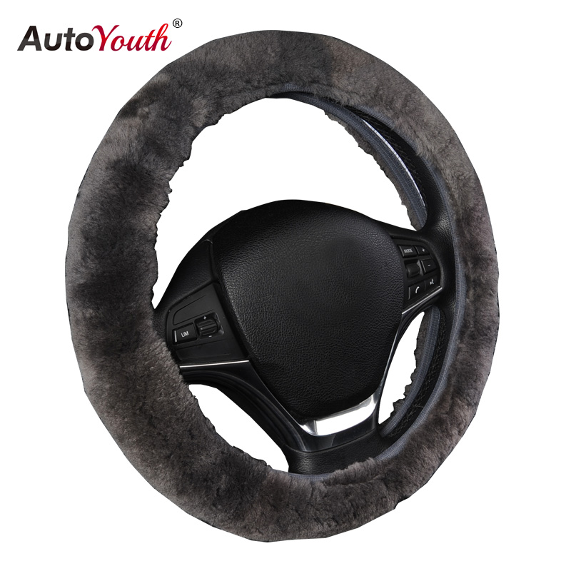 """AUTOYOUTH Luxury Steering Covers Premium Wool Steering Wheel Cover Universal Fit 14""""-15 inch Car Styling"""