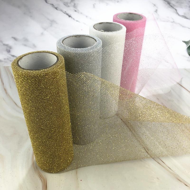 9.2m Glitter Organza Tulle Roll Spool Fabric Ribbon DIY Tutu Skirt Gift Craft Baby Shower Wedding Party Decoration Gold Silver
