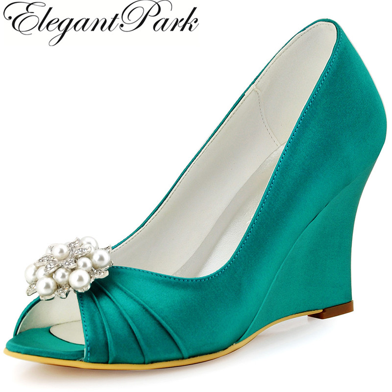 Woman Shoes High Heel Wedges Peep Toe Rhinestones Satin Bride Bridesmaids Prom Pumps Women Bridal Wedding Shoes WP1549 Teal hp1541 teal navy blue women bride bridesmaids peep toe prom pumps low heels satin lace rhinestones wedding bridal party shoes
