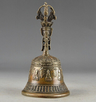 Copper Brass CHINESE crafts Asian Exquisite Chinese Tibetan Copper Buddhism Exorcism Bell