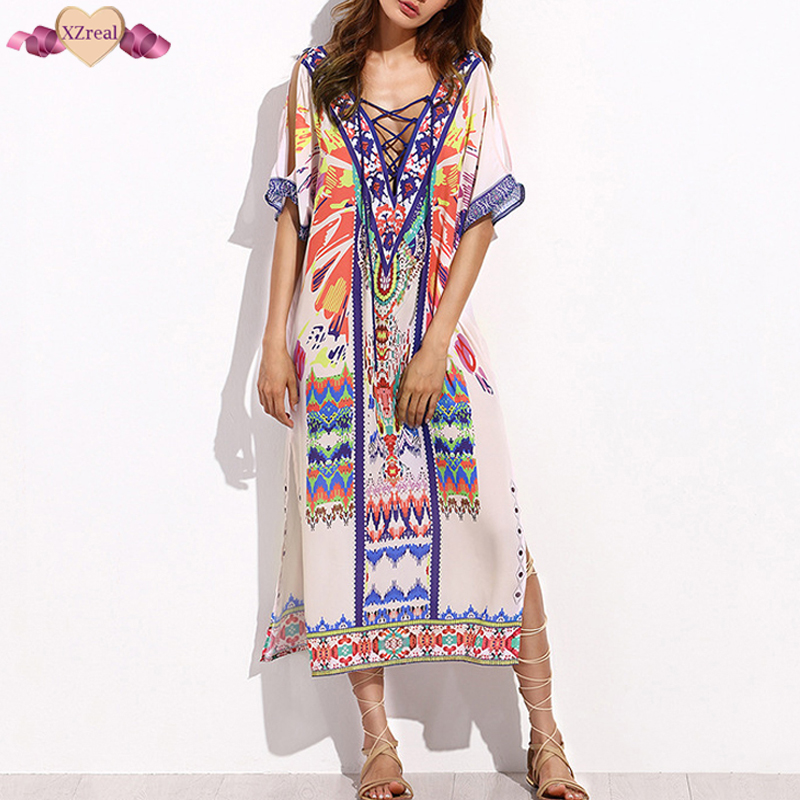 New Bohemian Print Beach Dress Women Summer Sundress Short Sleeve Split Side V Backless Dress Female Boho Clothes Z3D137